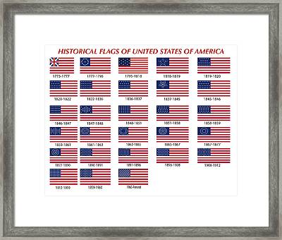 Historical Flags Of United States Of America Framed Print