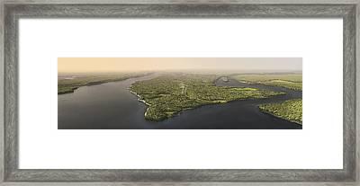 Historical Illustration Of Manhattan Framed Print by Markley Boyer