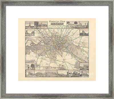Historical Map Of Berlin, 1838 Framed Print