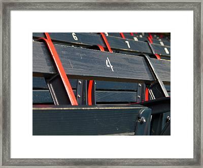 Historical Wood Seating At Boston Fenway Park Framed Print