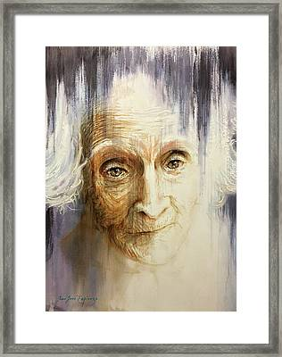 Framed Print featuring the painting Histories And Memories Of Ancestral Light 3 by J- J- Espinoza