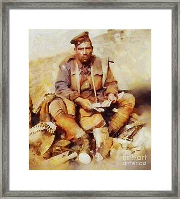 History In Color. Australian Soldier Pvt Barney Hines Wwi Framed Print by Sarah Kirk