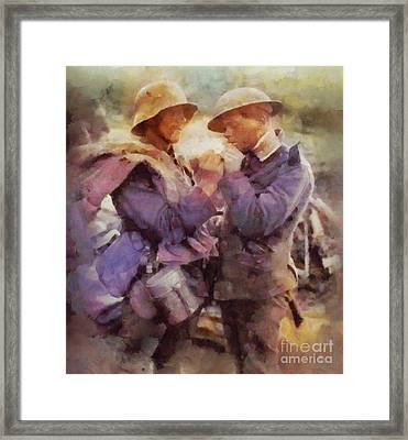 History In Color. Wwi Truce In The Trenches Framed Print by Sarah Kirk