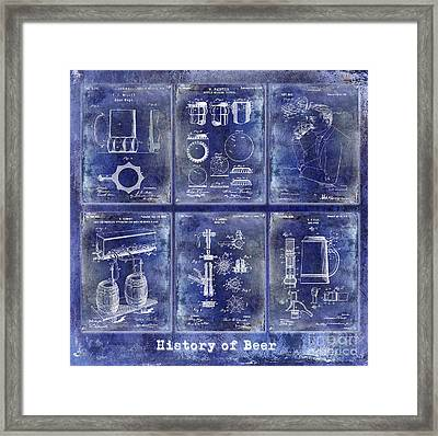 History Of Beer Patents Blue Framed Print