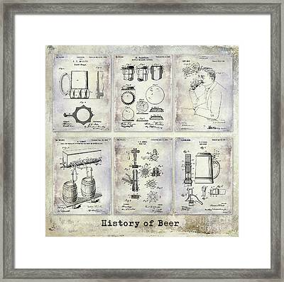 History Of Beer Patents Framed Print by Jon Neidert