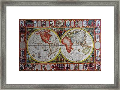 History Of Chess World Map Painted On Leatheder Framed Print