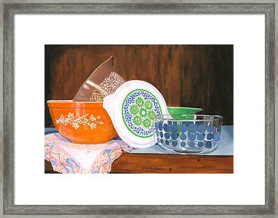 Framed Print featuring the painting History Of Pyrex by Lynne Reichhart