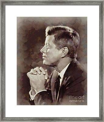History Portraits. John F. Kennedy, President Of The Usa By Sarah Kirk Framed Print by Sarah Kirk