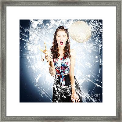 Hit And Miss Comic Pin-up Framed Print by Jorgo Photography - Wall Art Gallery