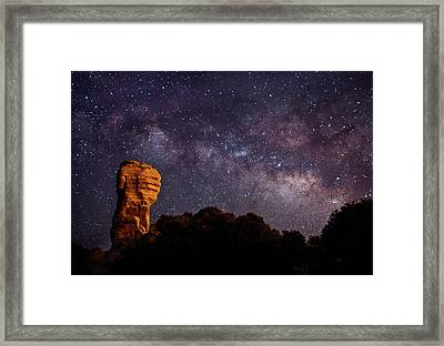 Hitchcock Pinnacle Nightscape -- Milky Way Framed Print