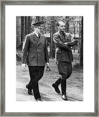 Hitler Strolling With Albert Speer Unknown Date Or Location Framed Print by David Lee Guss
