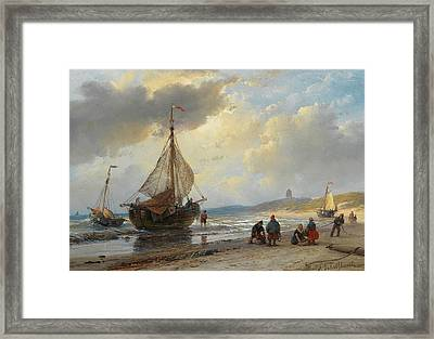 Hive Of Activity On The Beach Of Scheveningen Framed Print by Andreas Schelfhout