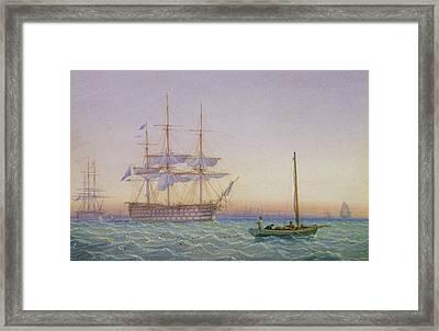 Hm Frigates At Anchor Framed Print by John Joy