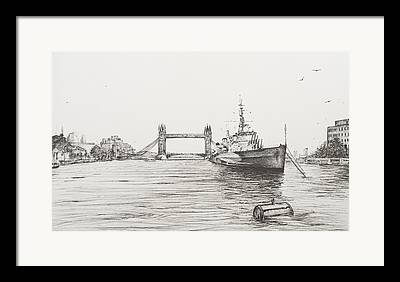 River View Drawings Framed Prints