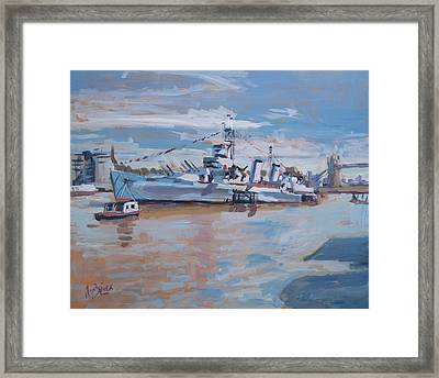 Hms Belfast Shows Off In The Sun Framed Print