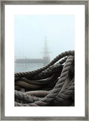 Hms Bounty In The Eastport Fog Framed Print