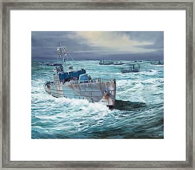 Hms Compass Rose Escorting North Atlantic Convoy Framed Print by Glenn Secrest