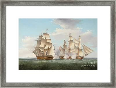 Hms Ethalion In Action With The Spanish Frigate Thetis Off Cape Finisterre Framed Print by Thomas Whitcombe