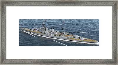 Hms Hood 1937 - Stern To Bow - Med Sea Framed Print by Christopher Snook