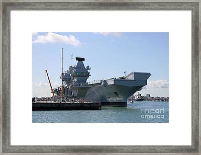 Hms Queen Elizabeth Aircraft Carrier At Portmouth Harbour Framed Print