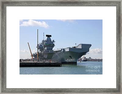 Hms Queen Elizabeth Aircraft Carrier At Portmouth Harbour Framed Print