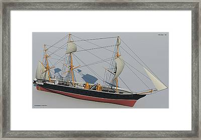 Hms Warrior 1860 - Bow To Stern Technical Framed Print by Christopher Snook