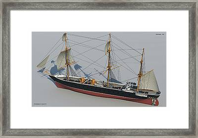 Hms Warrior 1860 - Stern To Bow Technical Framed Print by Christopher Snook