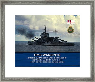 Hms Warspite Framed Print by John Wills
