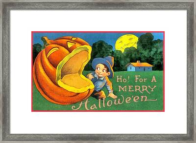 Ho For A Merry Halloween Framed Print by Unknown