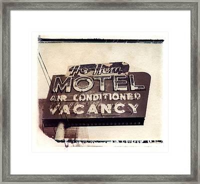 Ho Hum Motel Polaroid Transfer Framed Print by Jane Linders