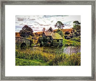 Framed Print featuring the photograph Hobbiton Mill And Bridge by Kathy Kelly