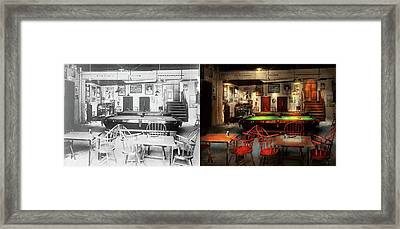 Hobby - Pool - The Billiards Club 1915 - Side By Side Framed Print by Mike Savad