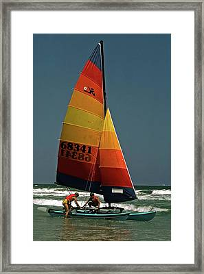 Hobie Cat In Surf Framed Print by Sally Weigand