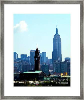 Hoboken And New York Framed Print