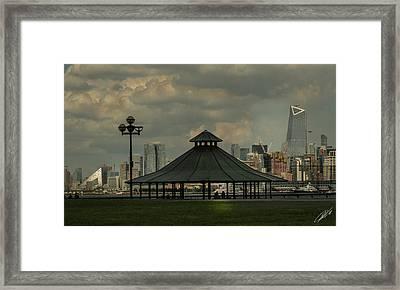 Hoboken, Nj -pier A Park Gazebo Framed Print