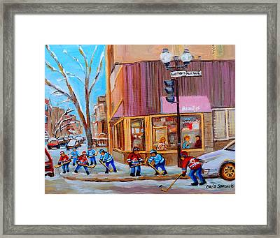 Hockey At Beautys Deli Framed Print by Carole Spandau