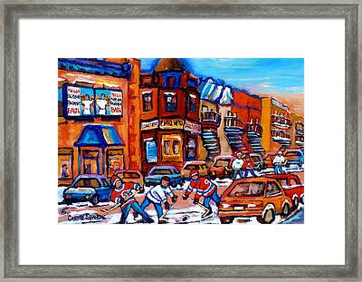 Hockey At Fairmount Bagel Framed Print by Carole Spandau