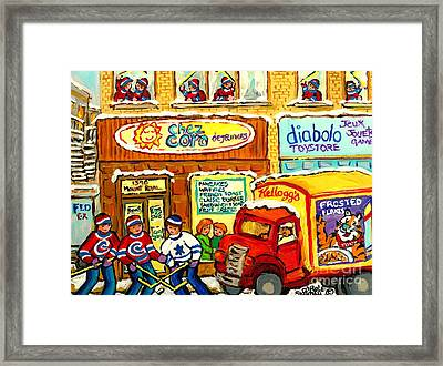 Hockey At Local Toy Shop And Breakfast Diner Winter Scene Delivery Truck Canadian Art Carole Spandau Framed Print by Carole Spandau