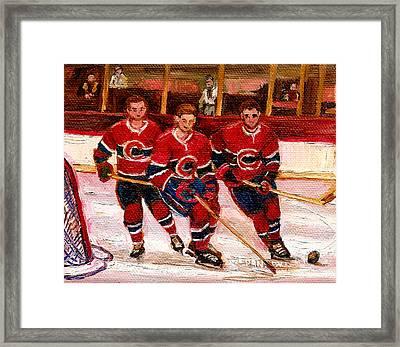 Hockey At The Forum Framed Print by Carole Spandau