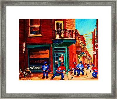 Hockey At Wilenskys Corner Framed Print by Carole Spandau