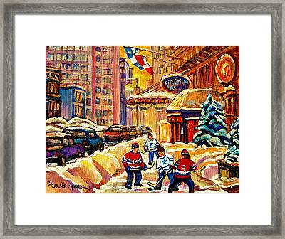 Hockey Fever Hits Montreal Bigtime Framed Print by Carole Spandau