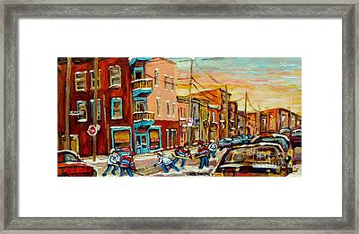 Hockey Game Fairmount And Clark Wilensky's Diner Framed Print by Carole Spandau