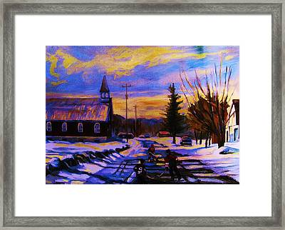 Hockey Game In The Village Framed Print by Carole Spandau
