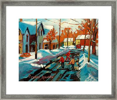Hockey Game In Ville St Laurent Montreal Streetscenes Framed Print by Carole Spandau