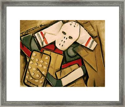 Synthetic Cubism Hockey Goalie Art Print Framed Print by Tommervik