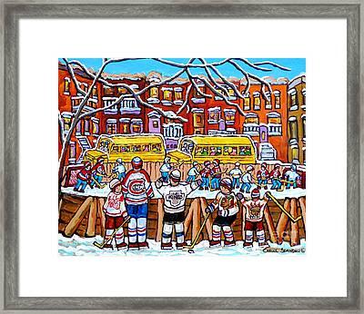 Outdoor Hockey Rink Scene Neighborhood School Buses Six Team Jerseys Canadian Art Carole Spandau Framed Print