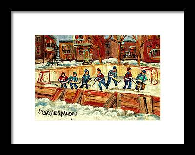 Afterschool Hockey Montreal Framed Prints