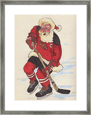 Hockey Santa Framed Print