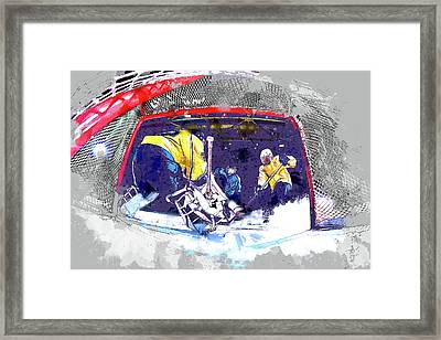 Hockey Score Attempt From The Ice Level Framed Print by Elaine Plesser