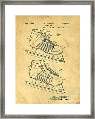 Hockey Skates Patent Art Blueprint Drawing Framed Print